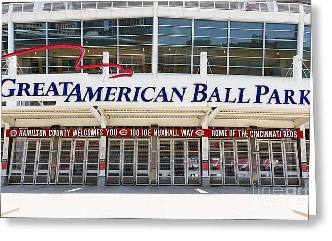 Ball Parks Greeting Cards - Cincinnati Great American Ball Park Entrance Sign Greeting Card by Paul Velgos