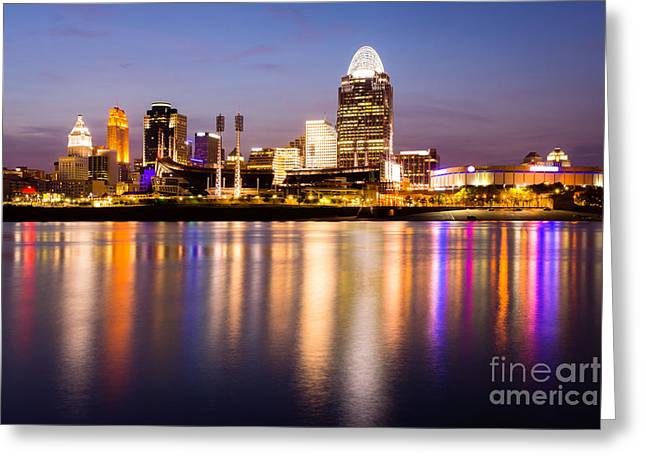 Rover Greeting Cards - Cincinnati Night Skyline Riverfront Greeting Card by Paul Velgos