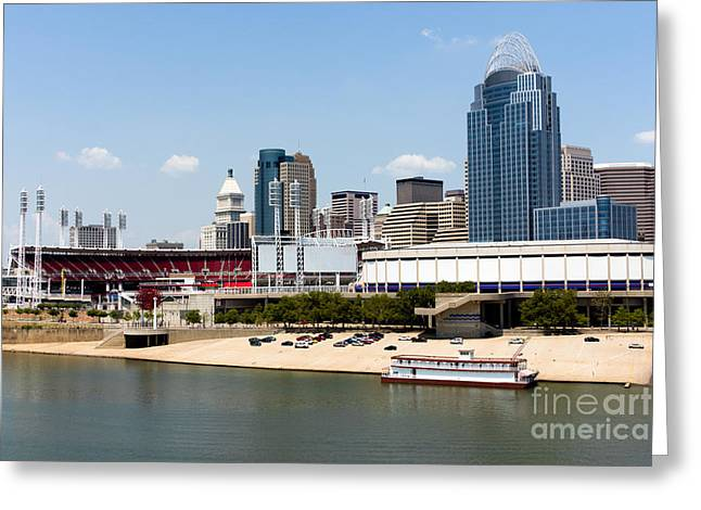 Pnc Greeting Cards - Cincinnati Ohio Skyline and Riverfront Greeting Card by Paul Velgos
