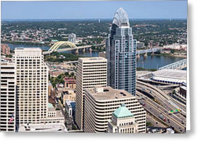Cincinnati Panorama Aerial Skyline Downtown City Buildings Greeting Card by Paul Velgos