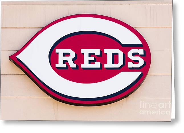 Editorial Photographs Greeting Cards - Cincinnati Reds Logo Sign Greeting Card by Paul Velgos