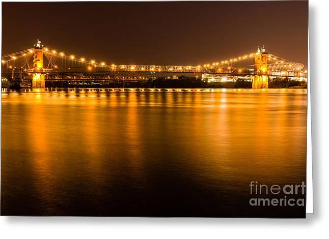 Ohio River Greeting Cards - Cincinnati Roebling Bridge at Night Greeting Card by Paul Velgos