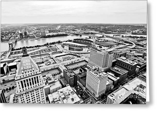 Ohio River Greeting Cards - Cincinnati Skyline Aerial Greeting Card by Paul Velgos
