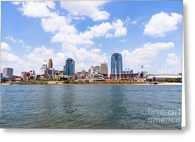 Cincinnati Skyline And Downtown City Buildings Greeting Card by Paul Velgos