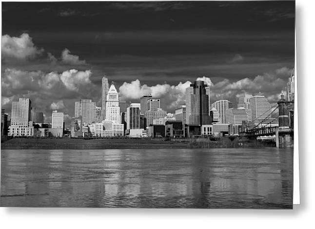 Cincinnati Skyline Bw Greeting Card by Keith Allen