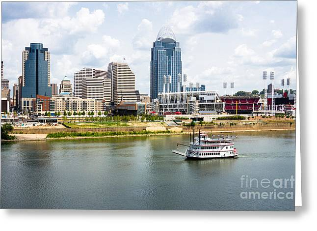 Riverboats Greeting Cards - Cincinnati Skyline with Riverboat Photo Greeting Card by Paul Velgos