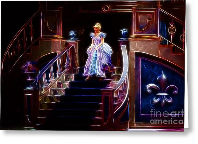 Ball Gown Greeting Cards - Cinderella enters the ball Greeting Card by Darleen Stry