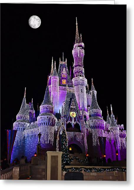Fantasy World Greeting Cards - Cinderellas Castle At Night Greeting Card by Carmen Del Valle