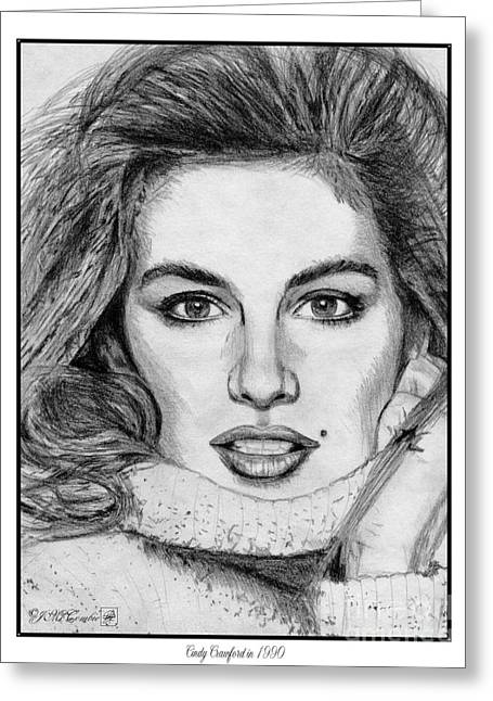 Catwalk Drawings Greeting Cards - Cindy Crawford in 1990 Greeting Card by J McCombie