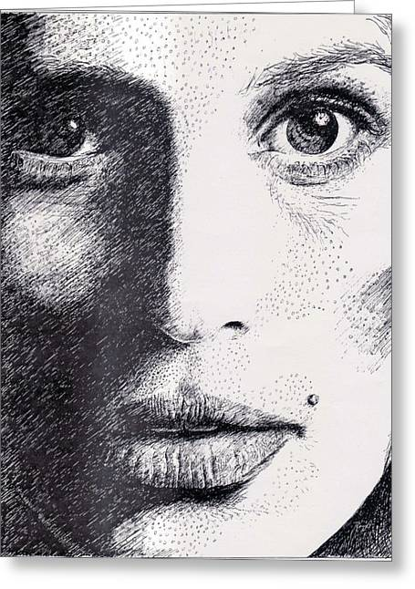 Pen And Ink Realism Greeting Cards - Cindy Crawford Pen and Ink Portrait Greeting Card by Romy Galicia