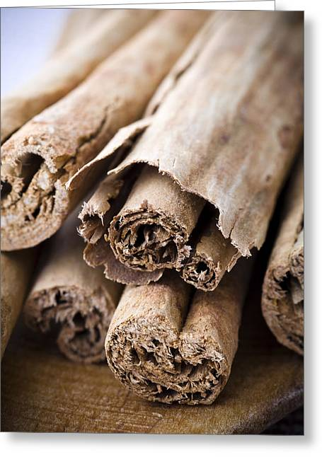 Spice Greeting Cards - Cinnamon Greeting Card by Frank Tschakert