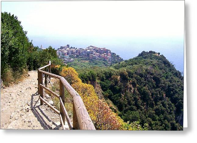 Cinqre Terre Corniglia From The Trail Greeting Card by Marilyn Dunlap