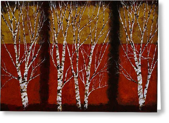 Birch Trees Greeting Cards - Cinque Betulle Greeting Card by Guido Borelli