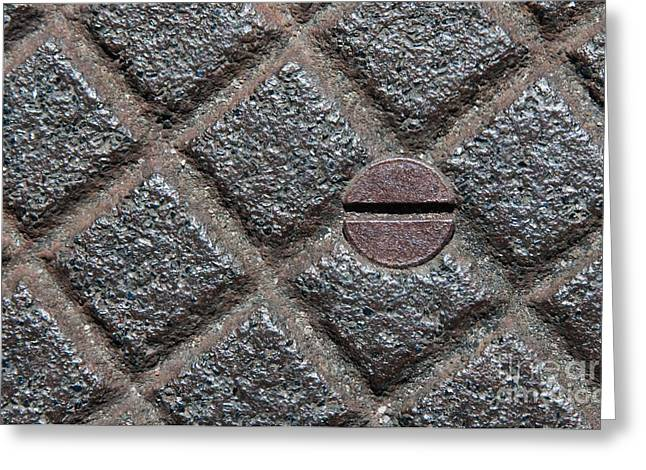 Industrial Concept Greeting Cards - Circle And Squares Greeting Card by Dan Holm