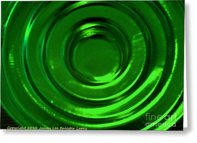 Photogrpah Greeting Cards - Circle Reflections Green Greeting Card by Jamey Balester
