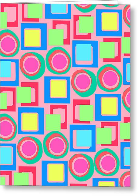 Designer Colour Greeting Cards - Circles and Squares Greeting Card by Louisa Knight
