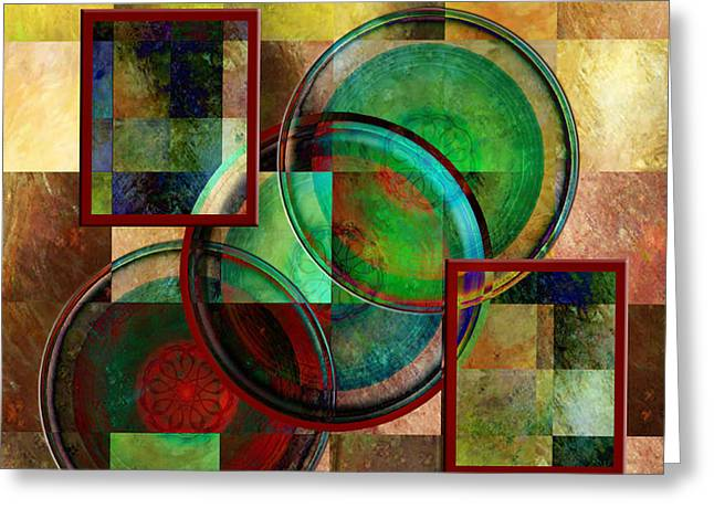 Rosy Hall Greeting Cards - Circles and Squares triptych CENTRE Greeting Card by Rosy Hall