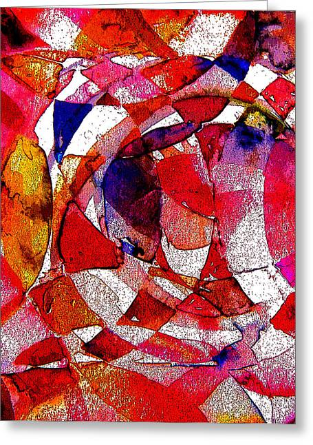 Abstract Rose Oval Greeting Cards - Circling Reds Greeting Card by Mindy Newman