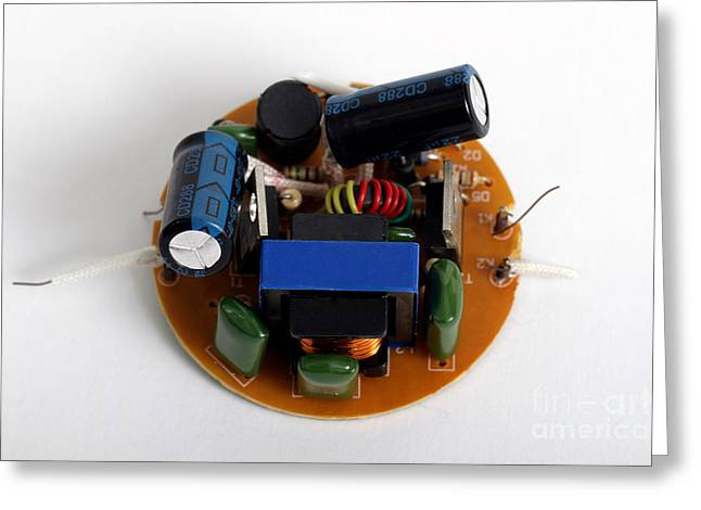 Electrolytic Greeting Cards - Circuit Board Of Light Bulb Greeting Card by Photo Researchers, Inc.
