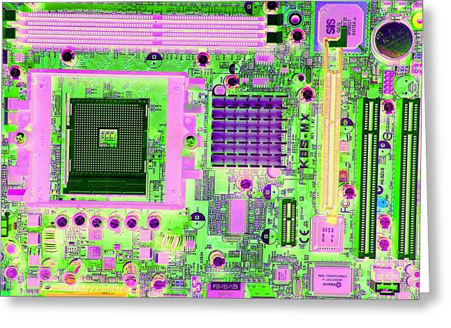 Circuit Board Greeting Card by Victor De Schwanberg