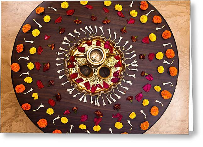 Marigold Festival Greeting Cards - Circular Rangoli Greeting Card by Kantilal Patel