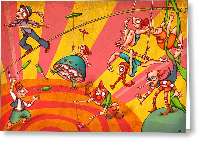 Circus 3 Greeting Card by Autogiro Illustration
