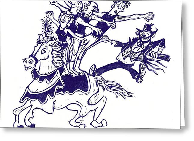 Linoleum Block Print Greeting Cards - Circus Acrobats on Horse with Clown Greeting Card by Barry Nelles Art