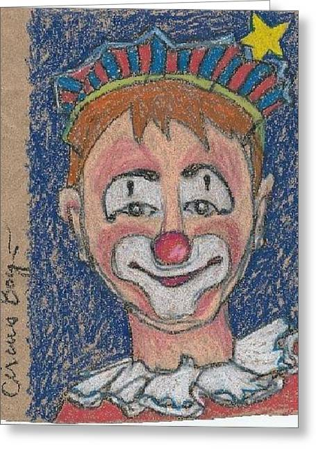 Loose Drawings Greeting Cards - Circus Boy Greeting Card by Casey Rasmussen White