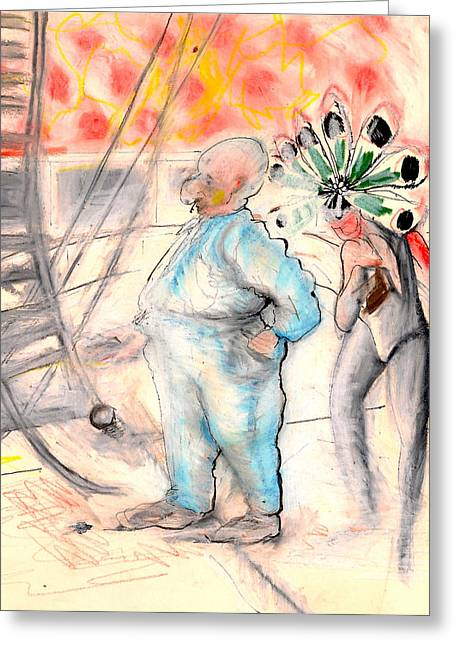 Rope Pastels Greeting Cards - Center Ring Circus Carnie Greeting Card by Al Goldfarb