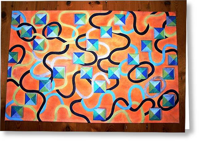Orange Tapestries - Textiles Greeting Cards - Circut Breaker Greeting Card by Laurie Alpert