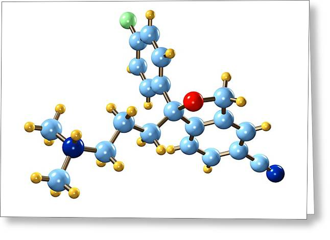 Antidepressant Photographs Greeting Cards - Citalopram Antidepressant Molecule Greeting Card by Dr Mark J. Winter