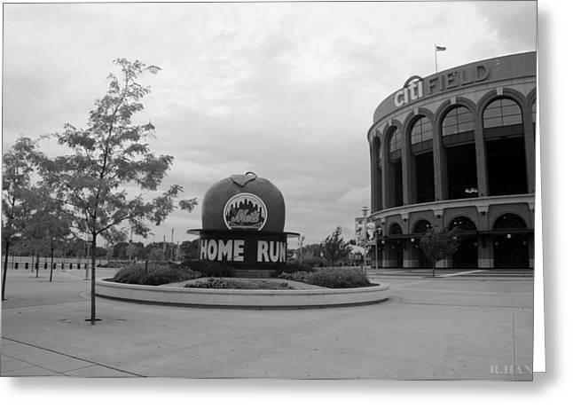 Shea Stadium Digital Greeting Cards - CITI FIELD in BLACK AND WHITE Greeting Card by Rob Hans