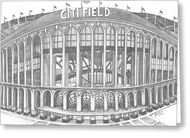 Baseball Fields Drawings Greeting Cards - Citi Field Greeting Card by Juliana Dube