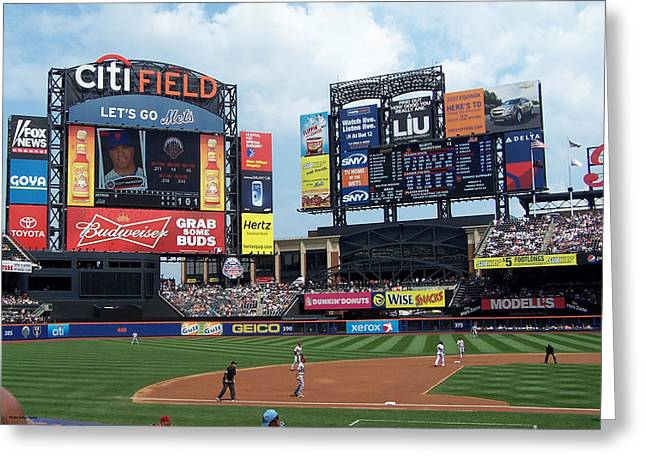 Citifield Greeting Cards - CitiField scoreboard Greeting Card by Suhas Tavkar
