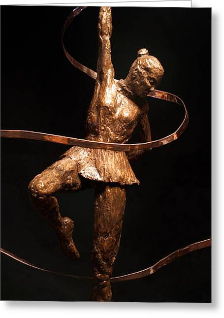 Stronger Sculptures Greeting Cards - Citius Altius Fortius Olympic Art Gymnast over Black Greeting Card by Adam Long