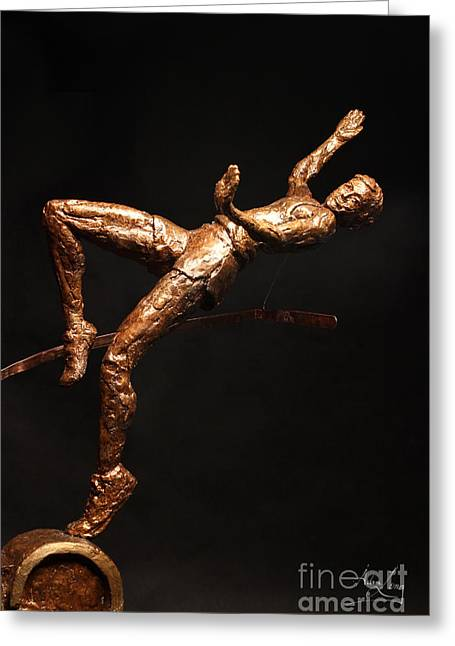 Flowing Sculptures Greeting Cards - Citius Altius Fortius Olympic Art High Jumper on Black Greeting Card by Adam Long