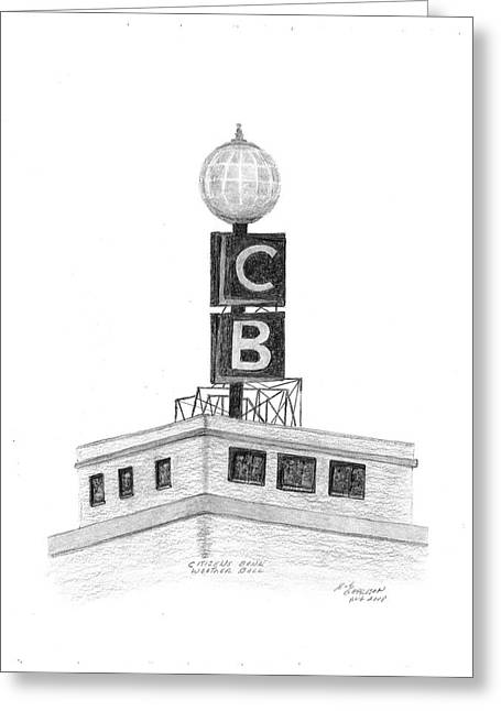 Citizens Drawings Greeting Cards - Citizens Bank Weather Ball Greeting Card by Bob and Carol Garrison
