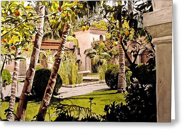 Patio Greeting Cards - Citrus Courtyard Greeting Card by David Lloyd Glover