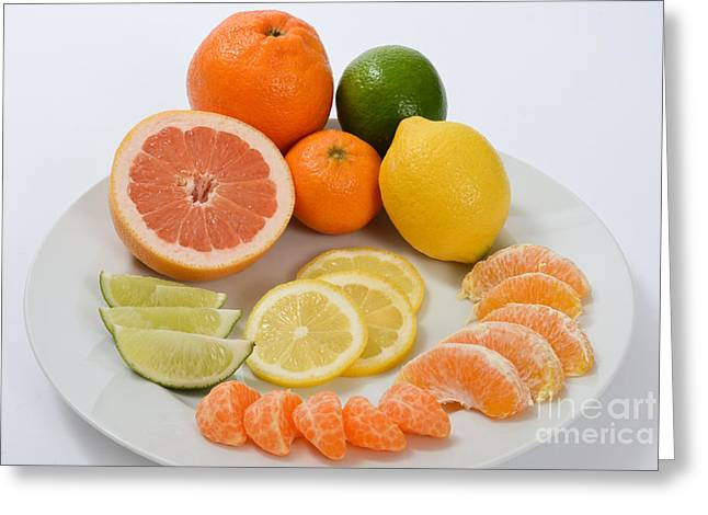 Tangerine Greeting Cards - Citrus Fruit Greeting Card by Photo Researchers, Inc.