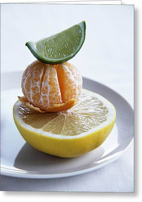 Tangerine Greeting Cards - Citrus Fruits Greeting Card by Veronique Leplat