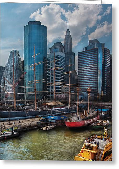 Water Taxi Greeting Cards - City - NY - The New City Greeting Card by Mike Savad