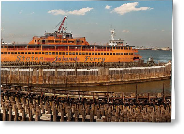 Staten Island Ferry Greeting Cards - City - NY - The Staten Island Ferry Greeting Card by Mike Savad