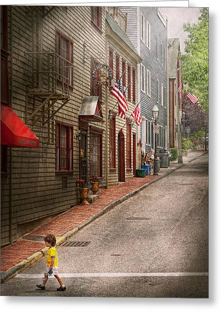 Crosswalk Greeting Cards - City - Rhode Island - Newport - Journey  Greeting Card by Mike Savad