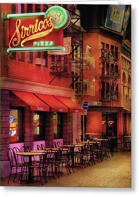 Purple Awnings Greeting Cards - City - Vegas - The Pizza Joint Greeting Card by Mike Savad