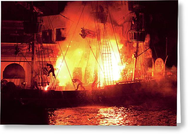 City - Vegas - Treasure Island - Explosion Abandon ship Greeting Card by Mike Savad