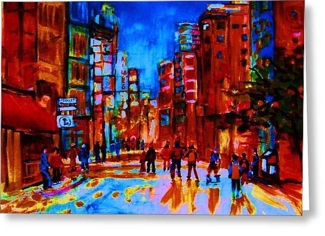 Montreal Pizza Places Greeting Cards - City After The Rain Greeting Card by Carole Spandau