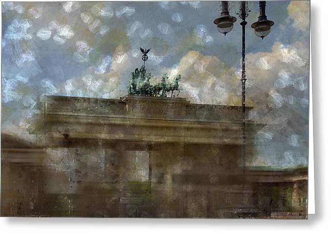 Stream Digital Art Greeting Cards - City-Art BERLIN Brandenburger Tor II Greeting Card by Melanie Viola