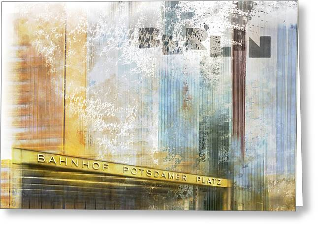 Horizontal Format Greeting Cards - City-Art BERLIN Potsdamer Platz Greeting Card by Melanie Viola