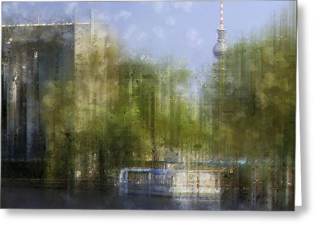 Modern Digital Art Digital Art Greeting Cards - City-Art BERLIN River Spree Greeting Card by Melanie Viola