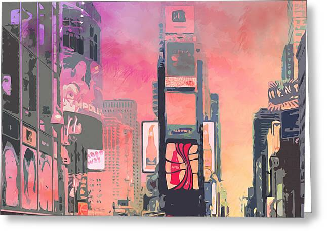 Town Square Greeting Cards - City-Art NY Times Square Greeting Card by Melanie Viola